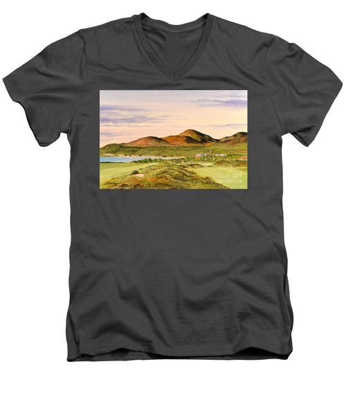 Men's V-Neck T-Shirt featuring the painting Royal County Down Golf Course by Bill Holkham