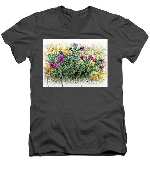 Royal Gorge Cactus With Flowers Men's V-Neck T-Shirt by Joseph Hendrix