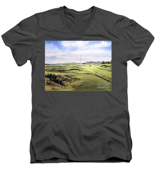 Men's V-Neck T-Shirt featuring the painting Royal Troon Golf Course by Bill Holkham