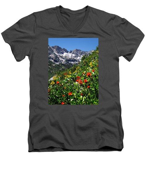 Ruby Mountain Wildflowers - Vertical Men's V-Neck T-Shirt by Alan Socolik