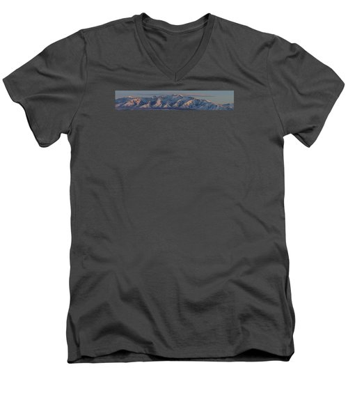 Men's V-Neck T-Shirt featuring the photograph Ruby Mountains Panorama by Jenessa Rahn