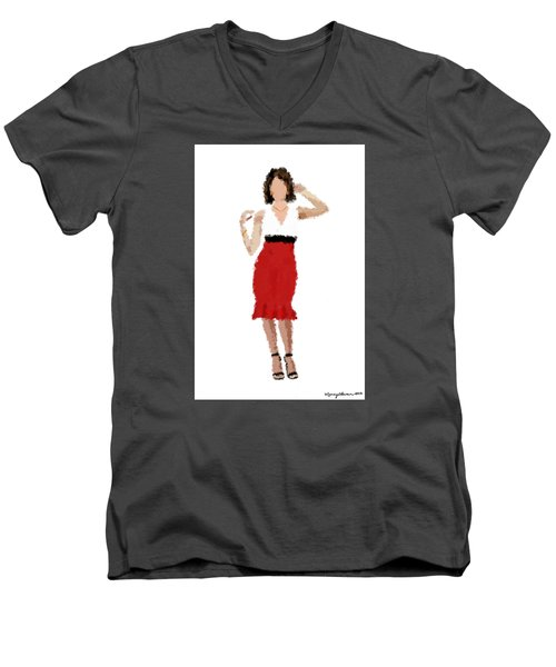 Men's V-Neck T-Shirt featuring the digital art Ruby by Nancy Levan