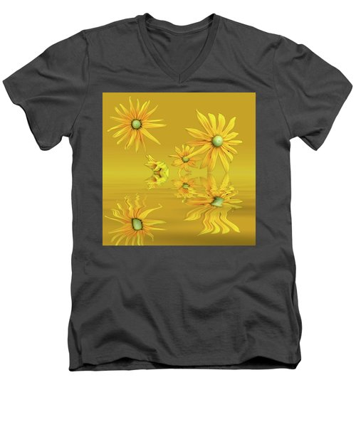 Men's V-Neck T-Shirt featuring the photograph Rudbekia Yellow Flowers by David French