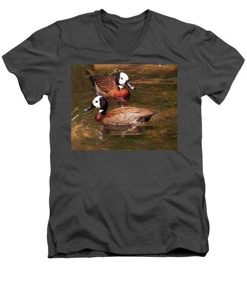 Men's V-Neck T-Shirt featuring the digital art White-faced Whistling Duck by Chris Flees