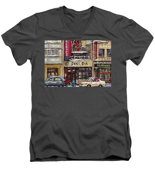 Rue Peel Montreal Winter Street Scene Paintings Peel Pub Cafe Republique Hockey Scenes Canadian Art Men's V-Neck T-Shirt