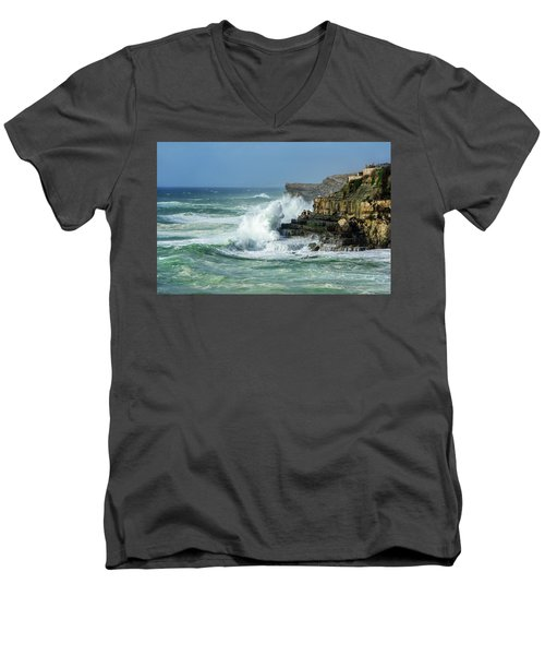 Rugged Coastal Seascape Men's V-Neck T-Shirt by Marion McCristall