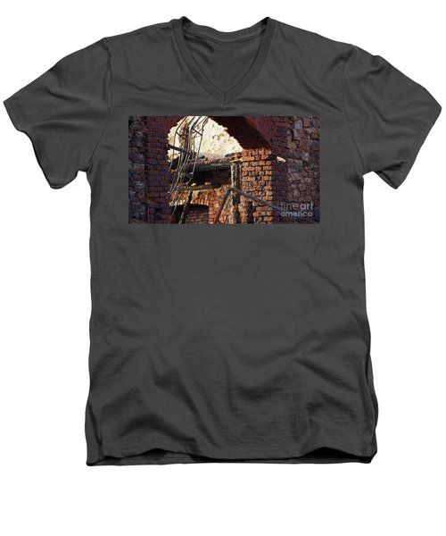 Ruin After Big Fire  Men's V-Neck T-Shirt
