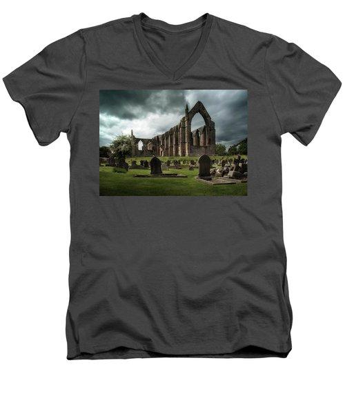 Ruins Of Bolton Abbey Men's V-Neck T-Shirt by Jaroslaw Blaminsky