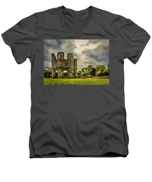 Men's V-Neck T-Shirt featuring the painting Ruins Of Mellifont Abbey by Jeff Kolker
