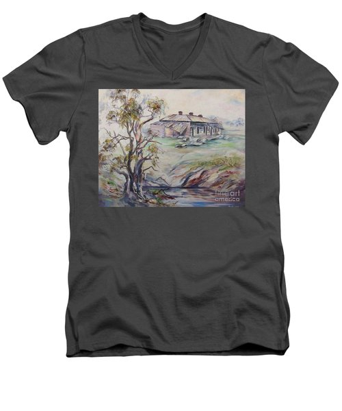 Men's V-Neck T-Shirt featuring the painting  Ruins Of Squatter's Arms Inn, Cookardinia. 2 Of Pair. by Ryn Shell