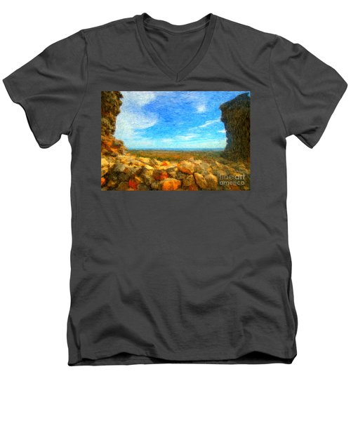 Ruins View Of Mediterranean Men's V-Neck T-Shirt