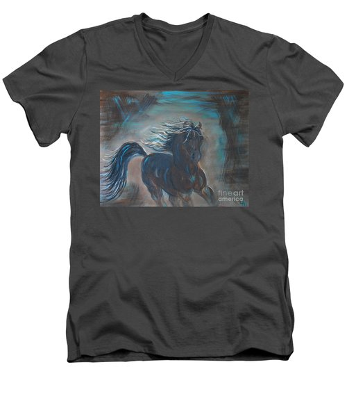 Men's V-Neck T-Shirt featuring the painting Run Horse Run by Leslie Allen