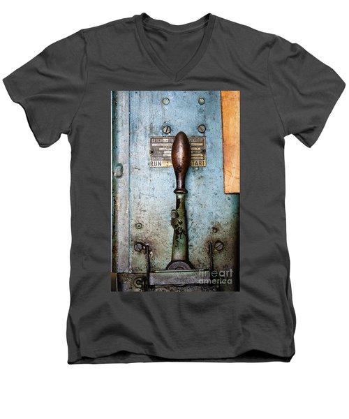 Run  Off  Start Portland Company Building Portland Me  -24631 Men's V-Neck T-Shirt by John Bald