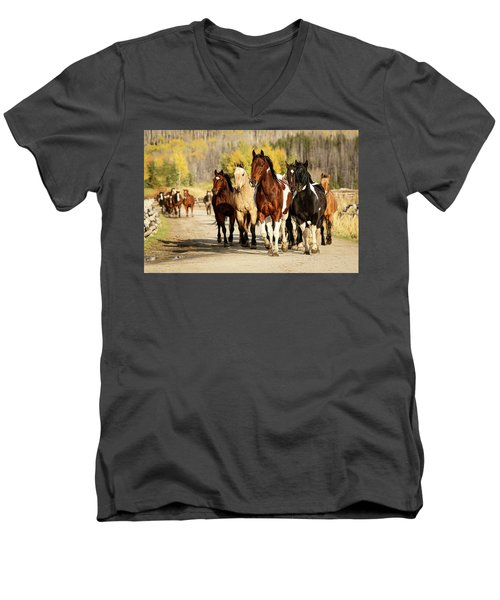 Men's V-Neck T-Shirt featuring the photograph Run Out by Sharon Jones