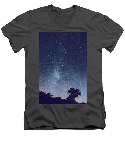 Running Dog Tree And Galaxy Men's V-Neck T-Shirt by Carolina Liechtenstein