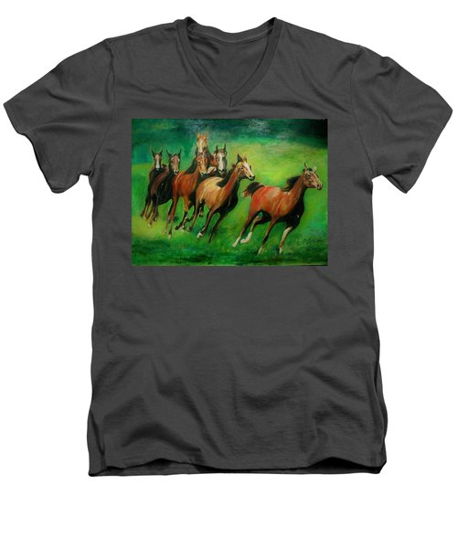 Running Free Men's V-Neck T-Shirt by Khalid Saeed