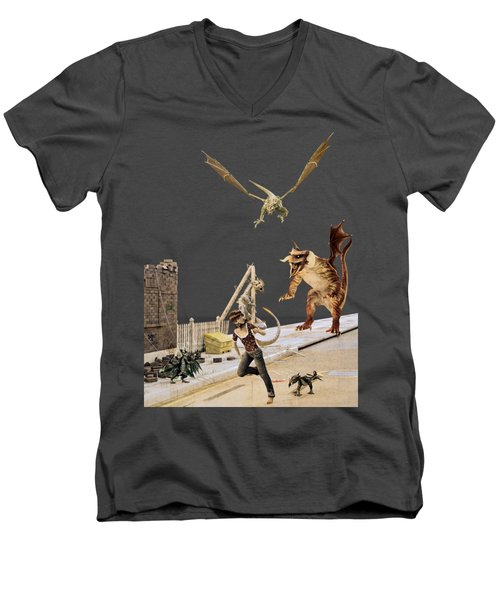 Running From My Problems Men's V-Neck T-Shirt by Methune Hively