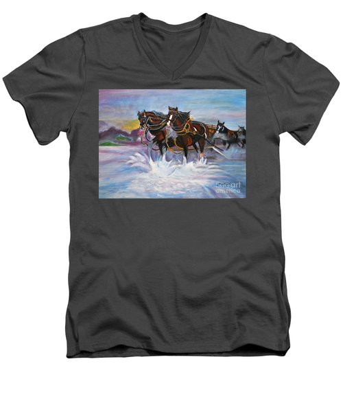 Running Horses- Beach Gallop Men's V-Neck T-Shirt