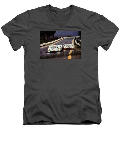 Running One Two Men's V-Neck T-Shirt by Peter Chilelli