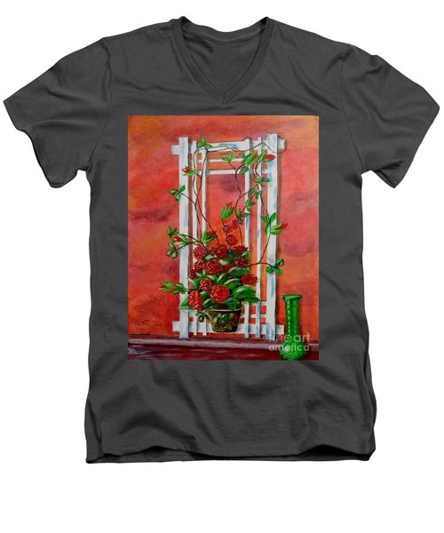 Men's V-Neck T-Shirt featuring the painting Running Roses by Melvin Turner