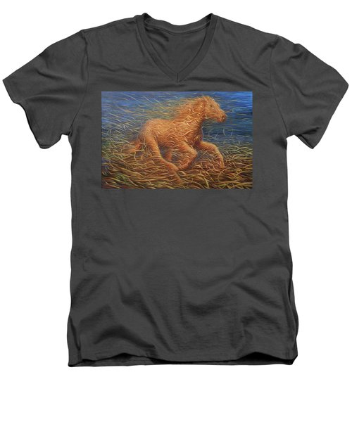 Running Swirly Horse Men's V-Neck T-Shirt