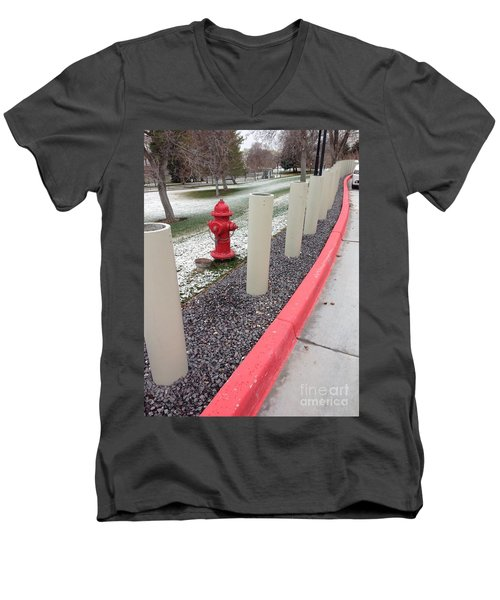 Men's V-Neck T-Shirt featuring the photograph Running The Gauntlet by Richard W Linford