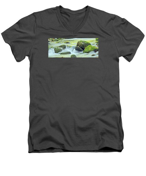 Men's V-Neck T-Shirt featuring the photograph Running Water by Wanda Krack