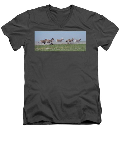 Running Zebras Men's V-Neck T-Shirt