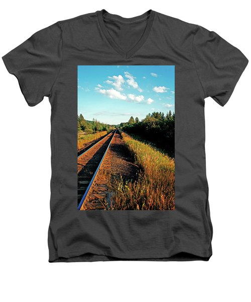 Rural Country Side Train Tracks Men's V-Neck T-Shirt