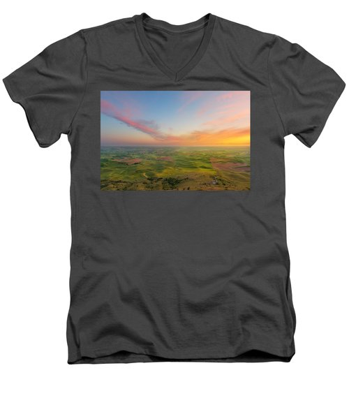Men's V-Neck T-Shirt featuring the photograph Rural Setting by Ryan Manuel