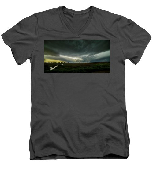Rural Spring Storm Over Chester Nebraska Men's V-Neck T-Shirt
