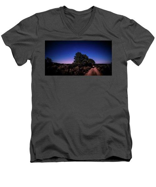 Rural Starlit Road Men's V-Neck T-Shirt