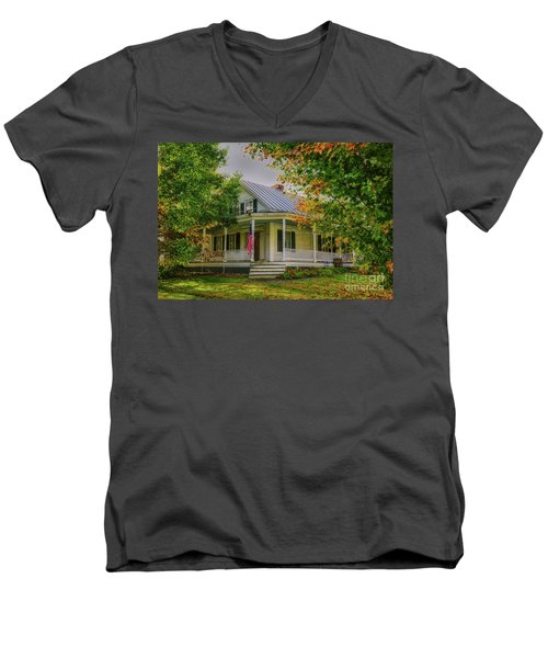 Men's V-Neck T-Shirt featuring the photograph Rural Vermont Farm House by Deborah Benoit