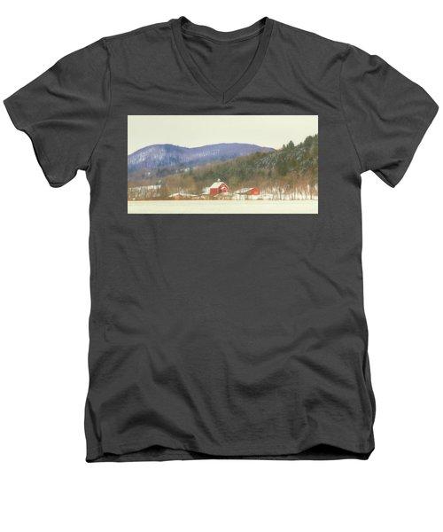 Men's V-Neck T-Shirt featuring the digital art Rural Vermont by Sharon Batdorf