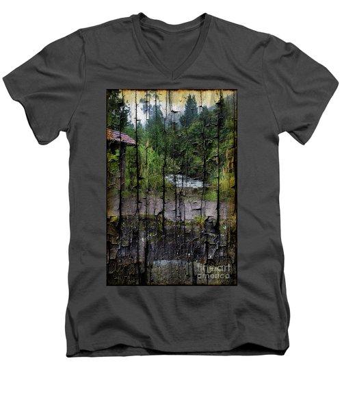 Rushing Cascade In The Andes - On Bark Men's V-Neck T-Shirt by Al Bourassa
