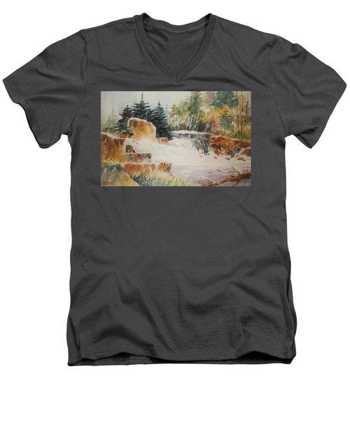 Rushing Streambed Men's V-Neck T-Shirt by Al Brown