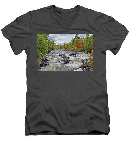 Men's V-Neck T-Shirt featuring the photograph Rushing Towards Fall by Glenn Gordon