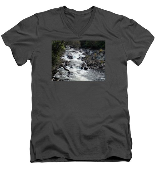 Rushing Water Men's V-Neck T-Shirt by Catherine Gagne