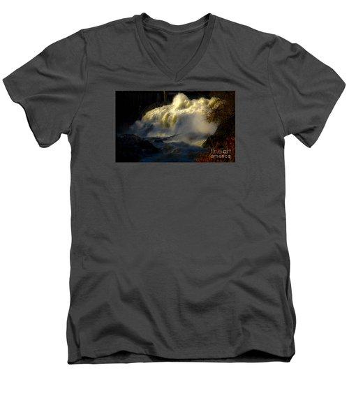 Rushing Water Men's V-Neck T-Shirt by Sherman Perry