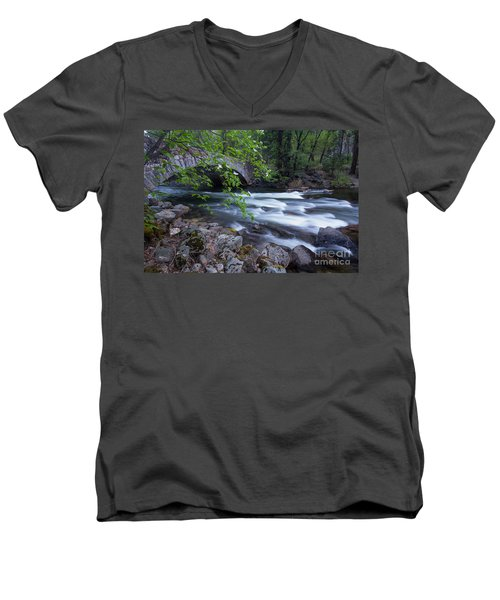 Men's V-Neck T-Shirt featuring the photograph Rushing Water by Vincent Bonafede