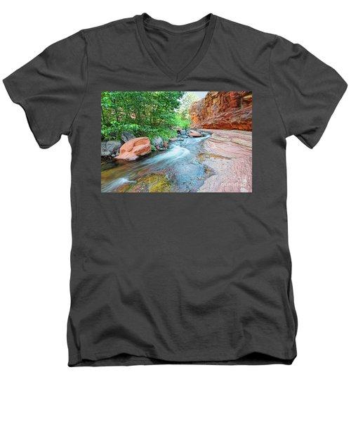 Rushing Waters At Slide Rock State Park Oak Creek State Park - Sedona Northern Arizona Men's V-Neck T-Shirt