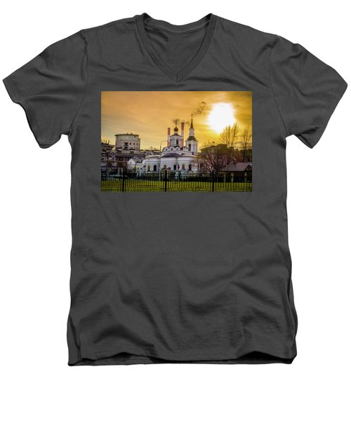 Men's V-Neck T-Shirt featuring the photograph Russian Ortodox Church In Moscow, Russia by Alexey Stiop