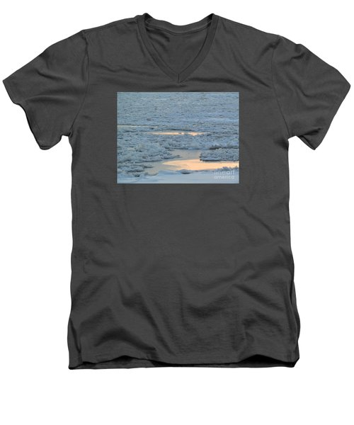 Russian Waterway Frozen Over Men's V-Neck T-Shirt by Margaret Brooks
