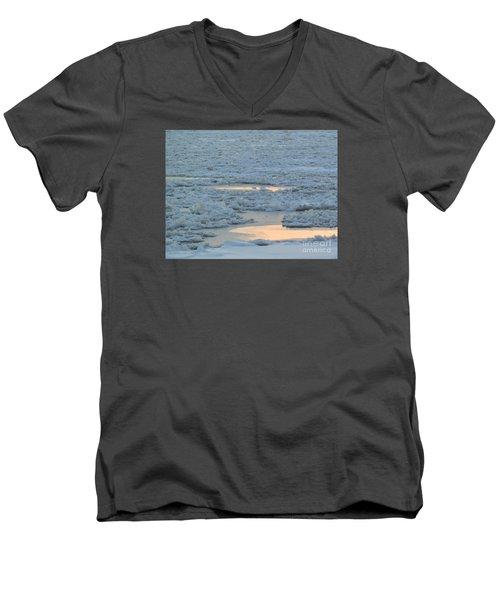 Russian Waterway Frozen Over Men's V-Neck T-Shirt