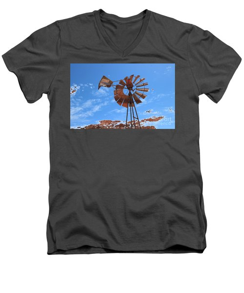 Men's V-Neck T-Shirt featuring the photograph Rust Age by Stephen Mitchell