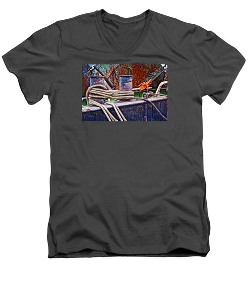 Men's V-Neck T-Shirt featuring the photograph Rust And Rope by Cameron Wood