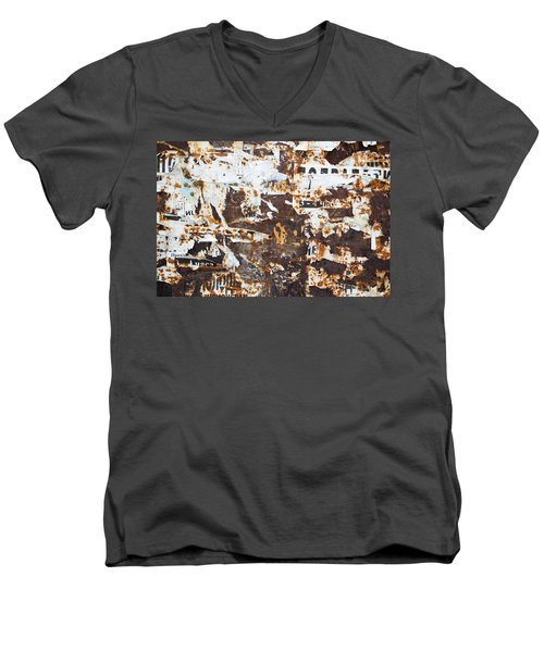 Men's V-Neck T-Shirt featuring the photograph Rust And Torn Paper Posters by John Williams