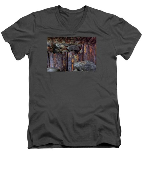 Men's V-Neck T-Shirt featuring the photograph Rusted Stones 3 by Steve Siri