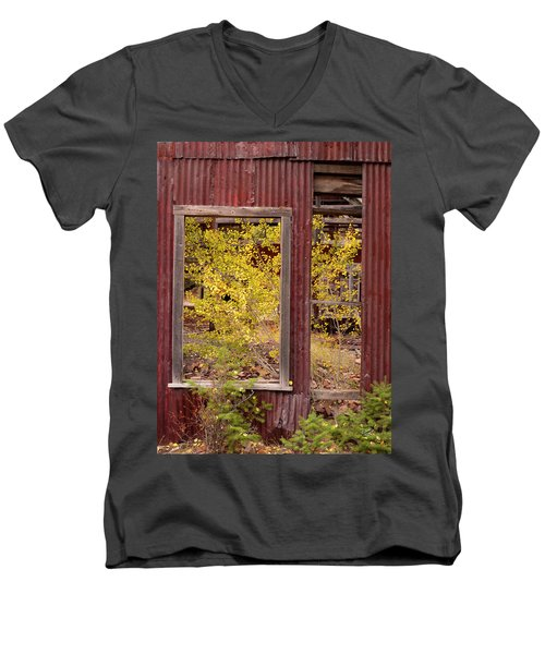 Men's V-Neck T-Shirt featuring the photograph Rustic Autumn by Leland D Howard