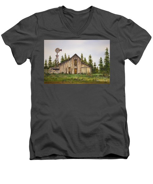 Men's V-Neck T-Shirt featuring the painting Rustic Barn by James Williamson